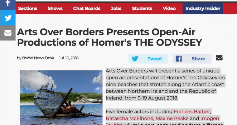 """""""Broadway World"""" – Arts Over Borders Presents Open-Air Productions of Homer's THE ODYSSEY"""