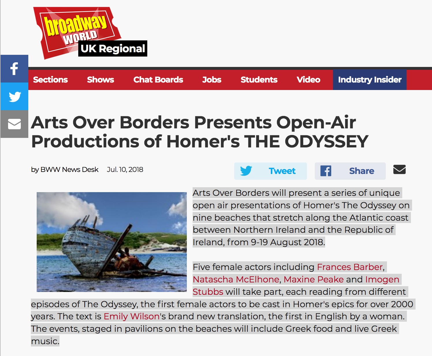 """Broadway World"" – Arts Over Borders Presents Open-Air Productions of Homer's THE ODYSSEY"