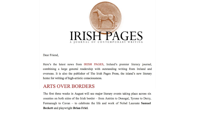 IRISH PAGES – A JOURNAL OF CONTEMPORARY WRITING