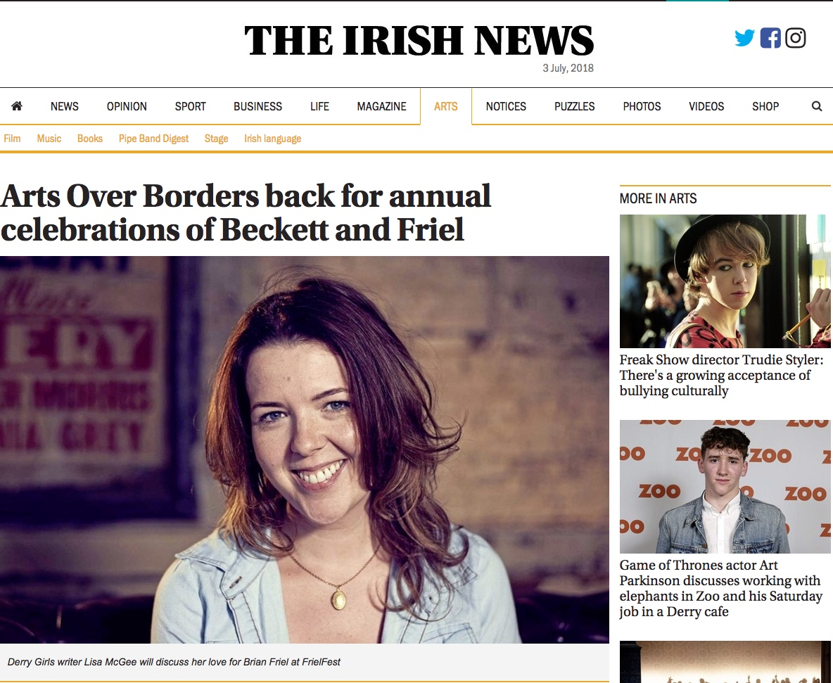 Irish News: Arts Over Borders back for annual celebrations of Beckett and Friel