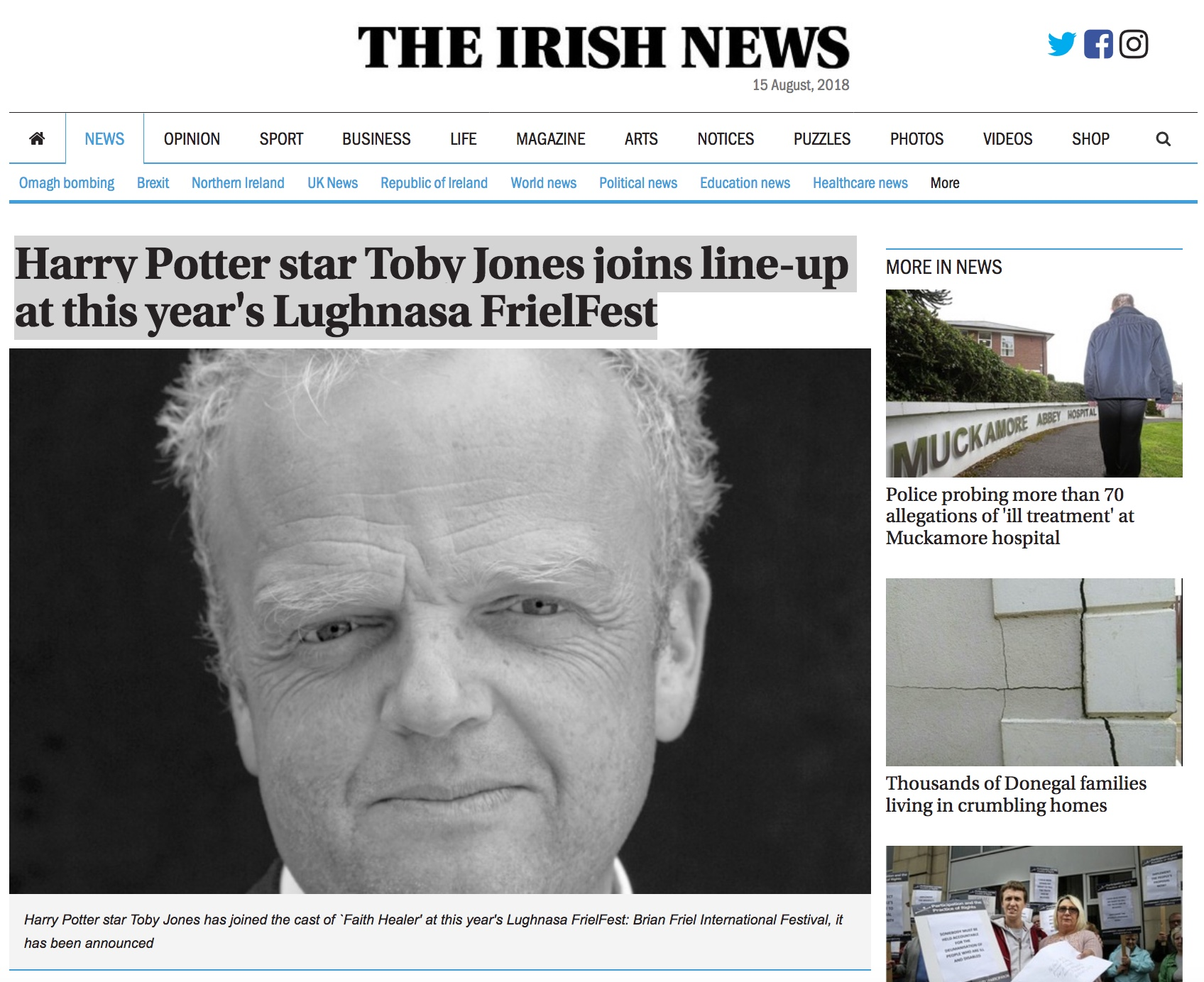 Harry Potter star Toby Jones joins line-up at this year's Lughnasa FrielFest