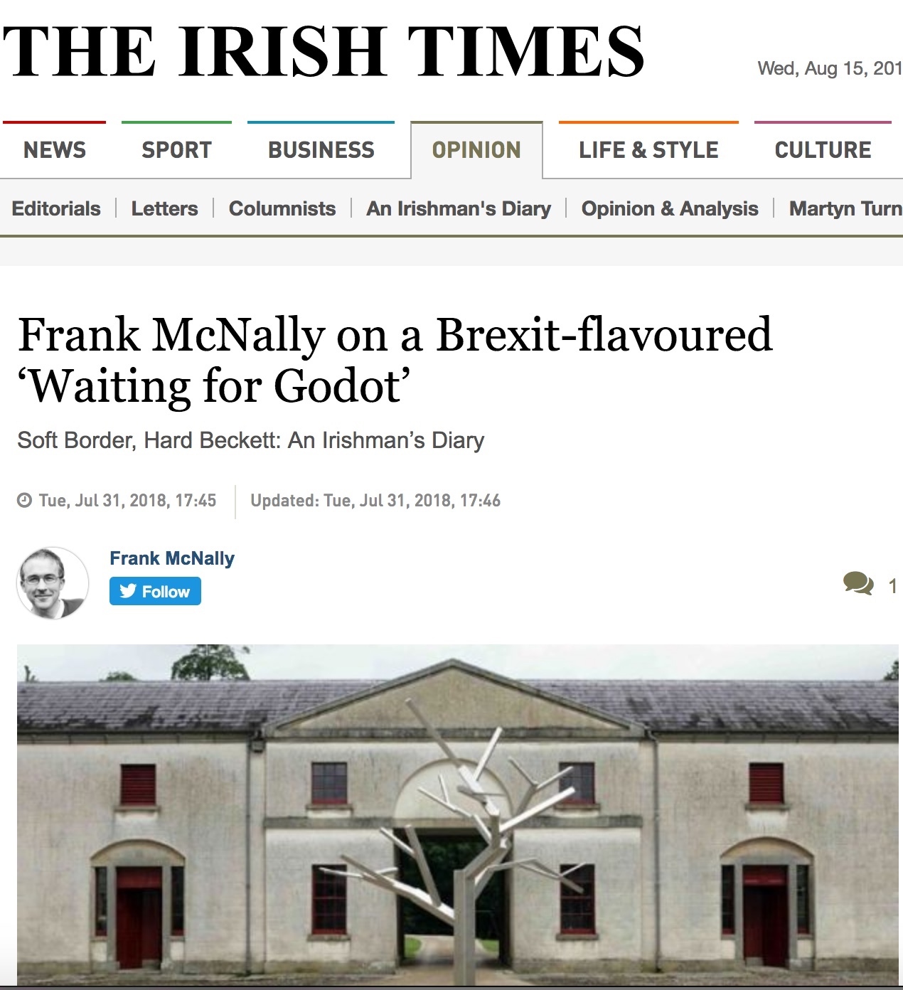 Soft Border, Hard Beckett: An Irishman's Diary : Irish Times